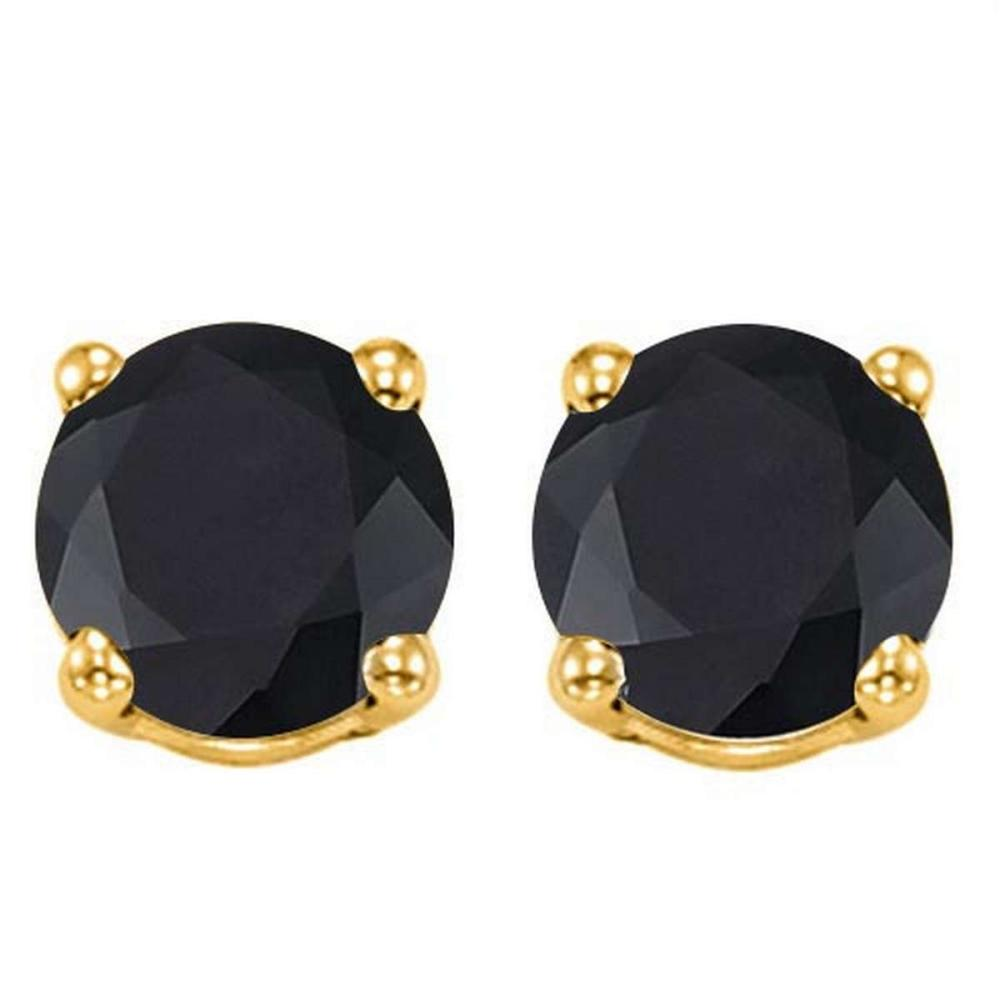 2.11 CTW BLACK SAPPHIRE 10K SOLID YELLOW GOLD ROUND SHAPE EARRING #IRS56729