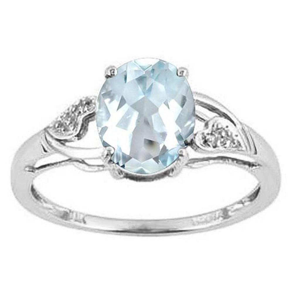 1.2 CTW AQUAMARINE & DIAMOND 10KT SOLID GOLD RING #IRS56589
