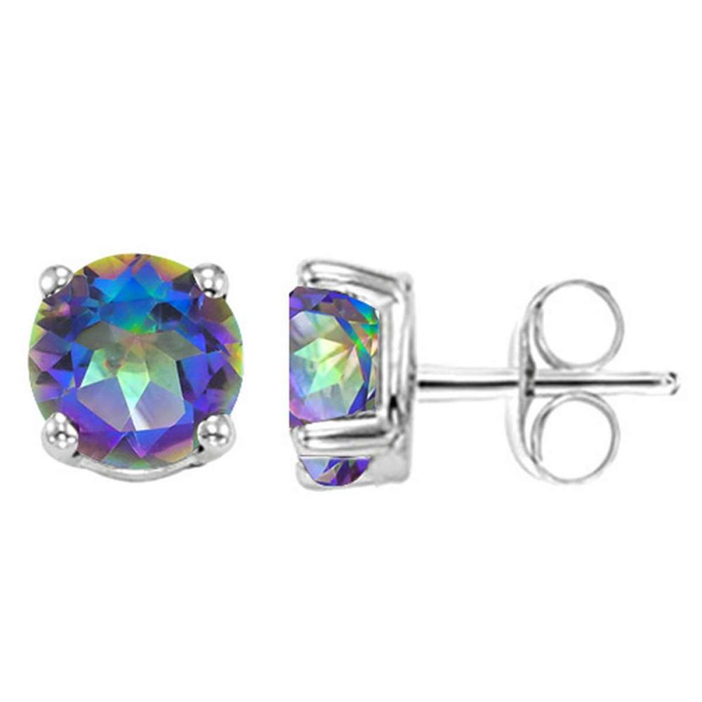 1.55 CT OCEANIC BLUE MYSTIC QUARTZ 10KT SOLID WHITE GOLD EARRING #IRS93679