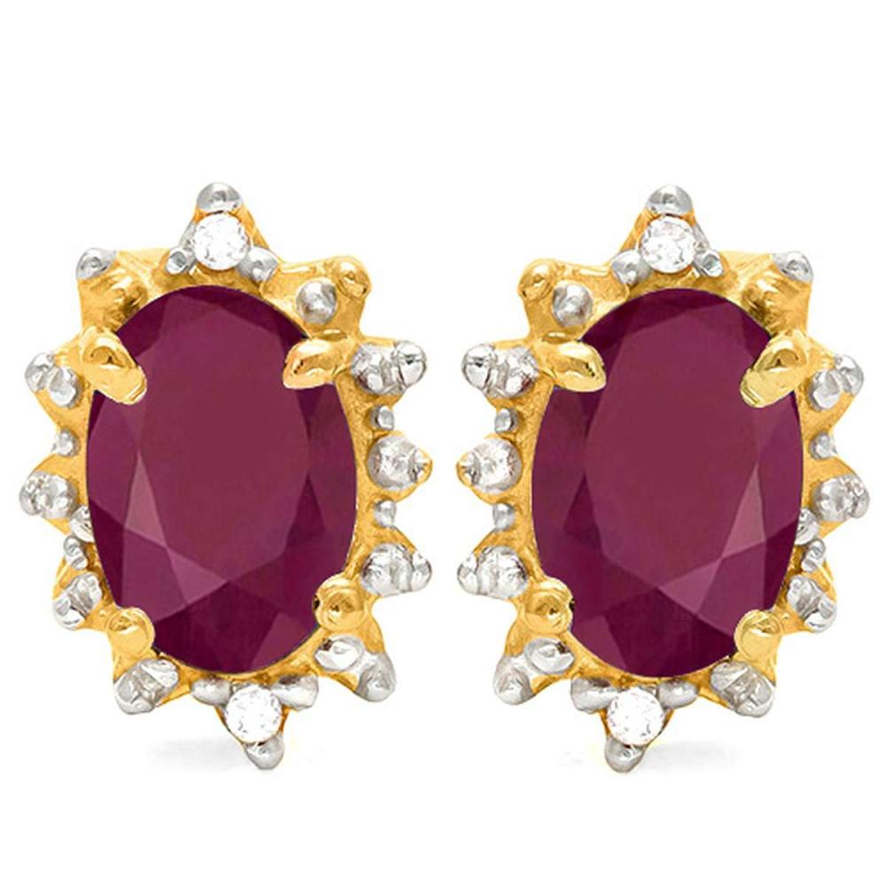 1.31 CT RUBY AND ACCENT DIAMOND 10KT SOLID YELLOW GOLD EARRING #IRS93717