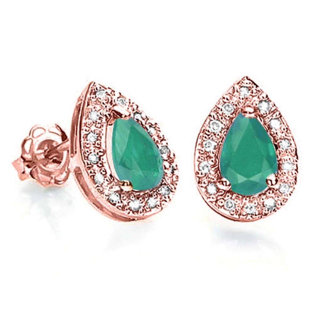 0.55 CT EMERALD AND ACCENT DIAMOND 10KT SOLID ROSE GOLD EARRING #IRS93779
