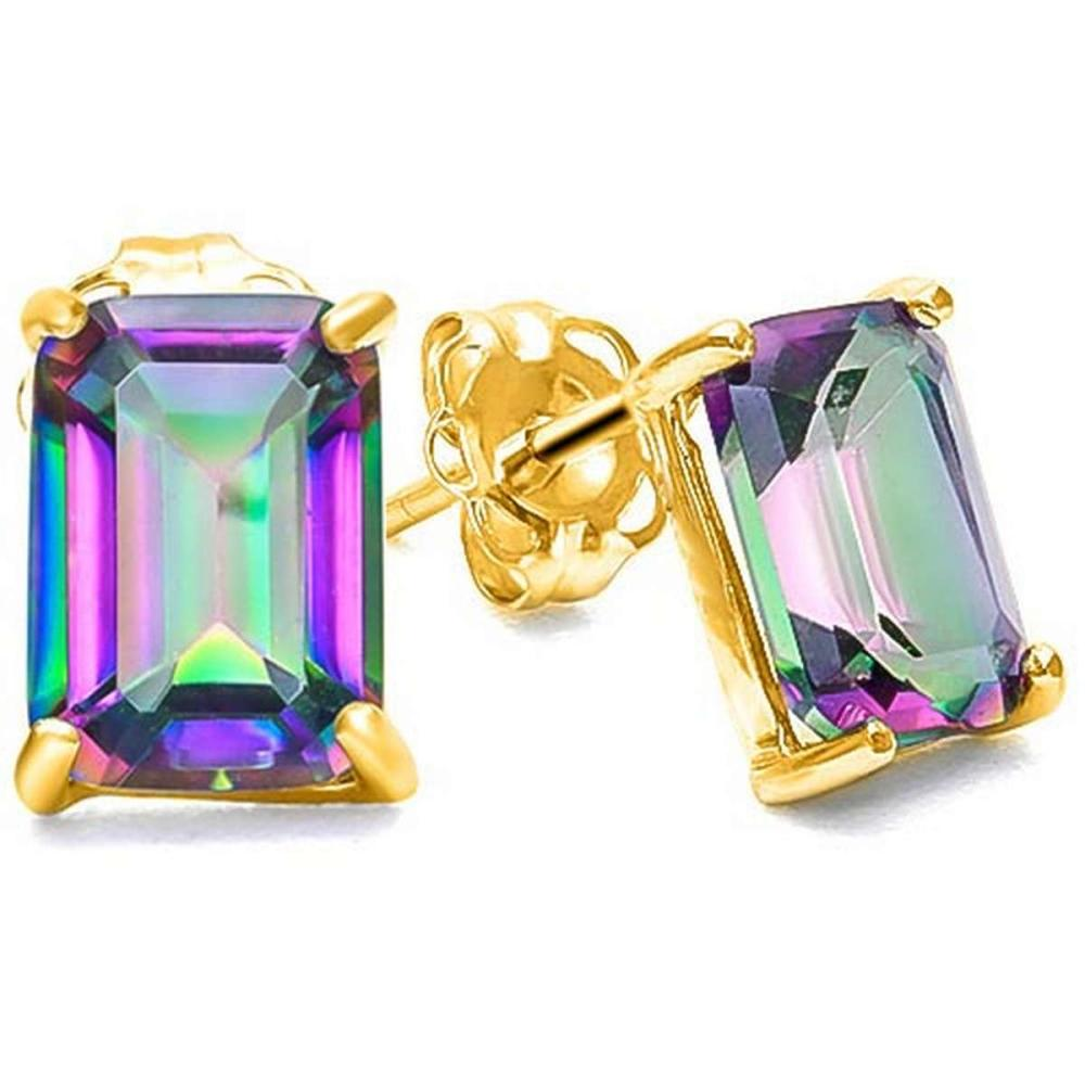 1.75 CTW MYSTICS GEMSTONE 10K SOLID YELLOW GOLD OCTAGON SHAPE EARRING #IRS56712