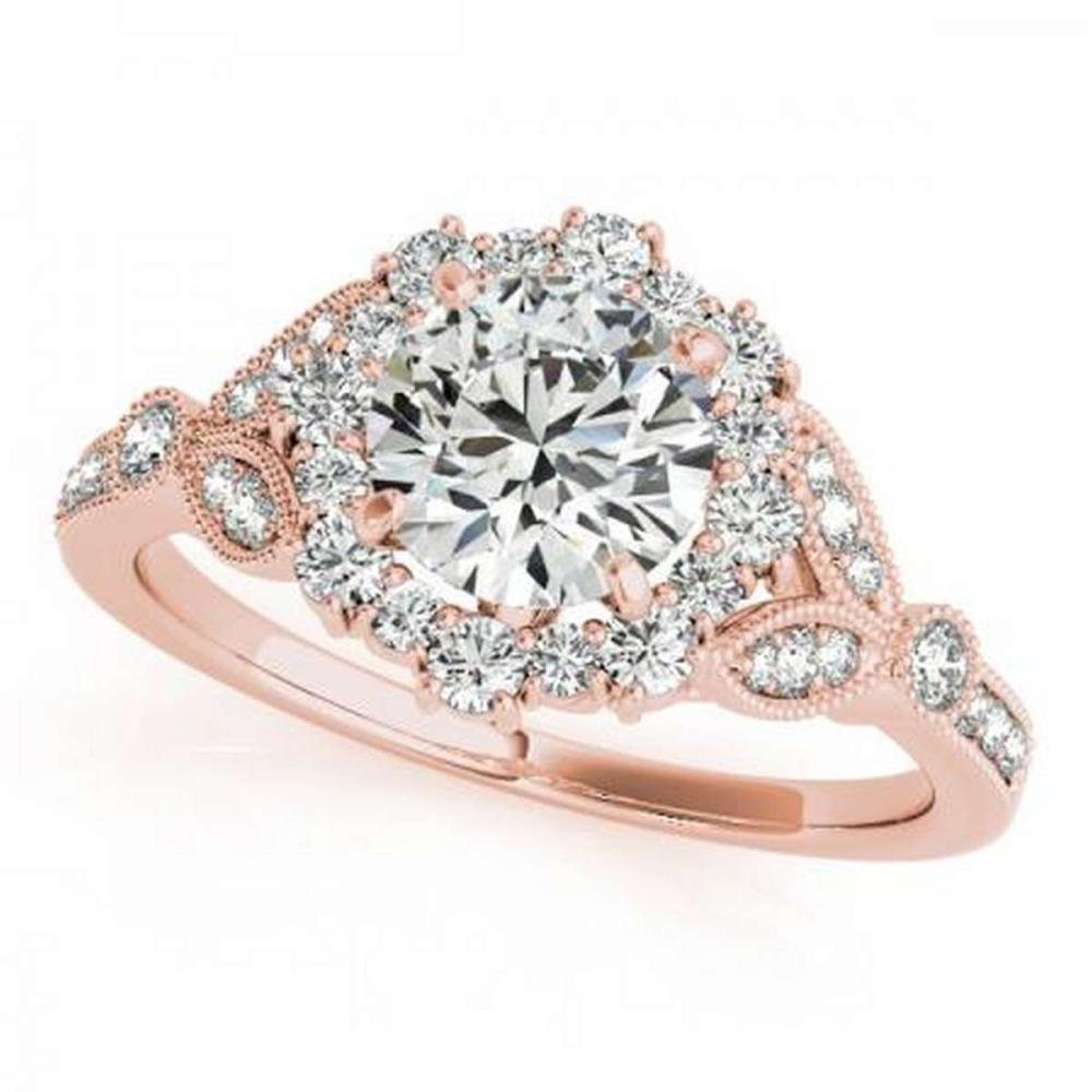 CERTIFIED 18K ROSE GOLD 1.13 CT G-H/VS-SI1 DIAMOND HALO ENGAGEMENT RING #IRS86358