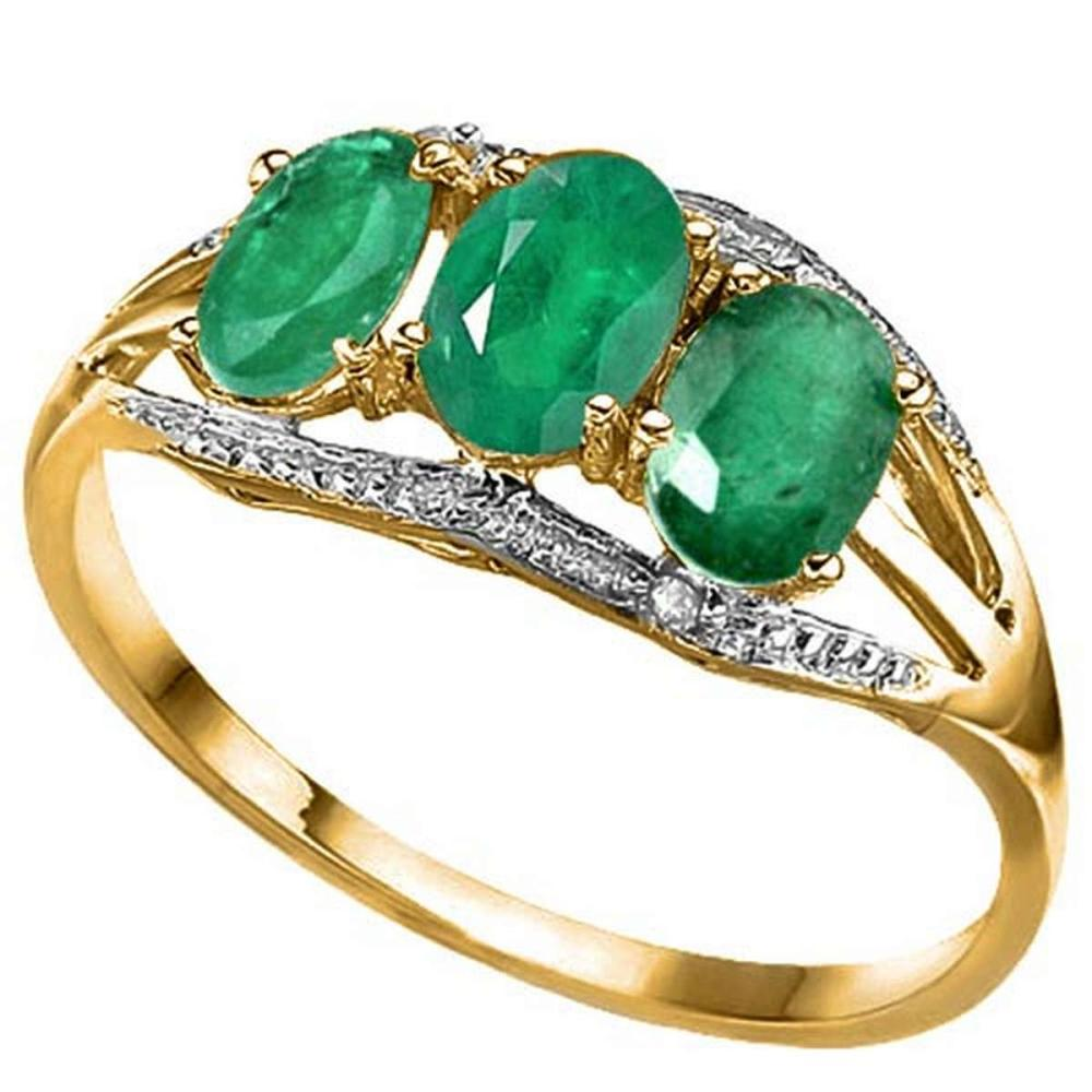1.3 CTW GENUINE EMERALD & GENUINE DIAMOND (2 PCS) 10KT SOLID YELLOW GOLD RING #IRS80880