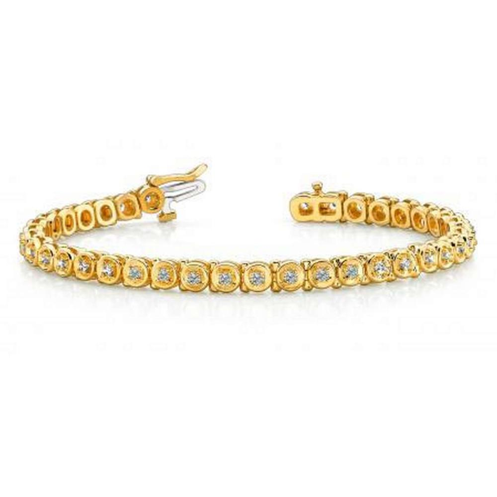 14K YELLOW GOLD 1 CTW G-H VS2/SI1 CIRCLE LINK DIAMOND TENNIS BRACELET #IRS19940