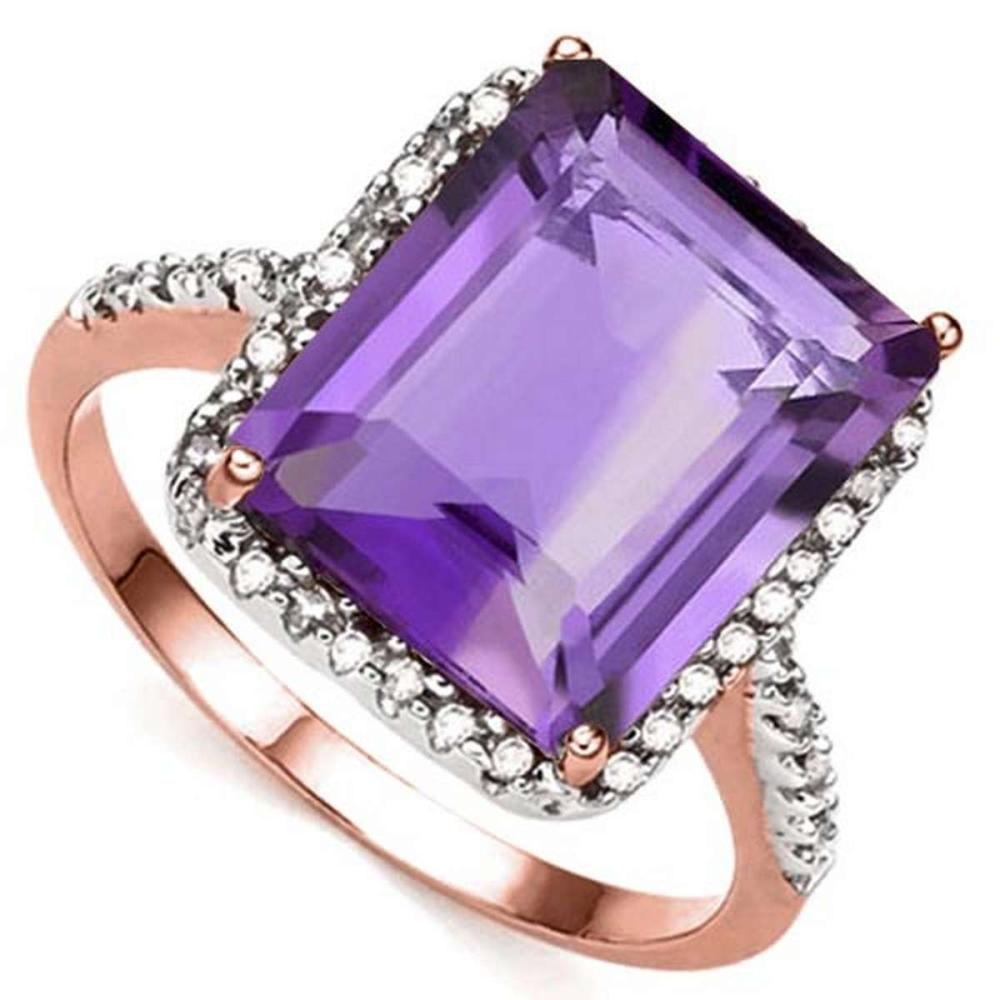 5.45 CTW AMETHYST & GENUINE DIAMOND (22 PCS) 10KT SOLID RED GOLD RING #IRS80911