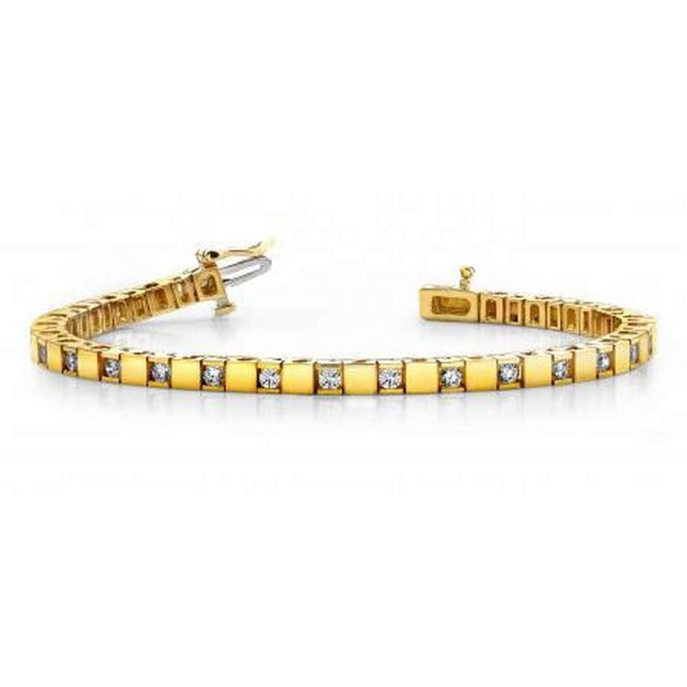 14K YELLOW GOLD 1 CTW G-H VS2/SI1 ALTERNATING DIAMOND BLOCK TENNIS BRACELET #IRS19972