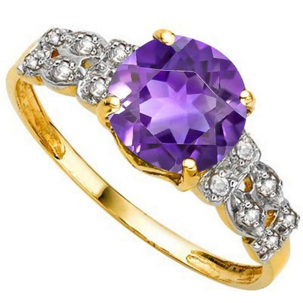 1.9 CTW GENUINE AMETHYST & GENUINE DIAMOND (12 PCS) 10KT SOLID YELLOW GOLD RING #IRS80973