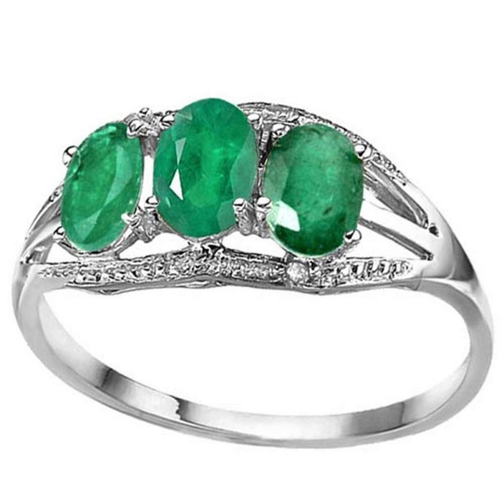 1.3 CTW GENUINE EMERALD & GENUINE DIAMOND (2 PCS) 10KT SOLID WHITE GOLD RING #IRS80963
