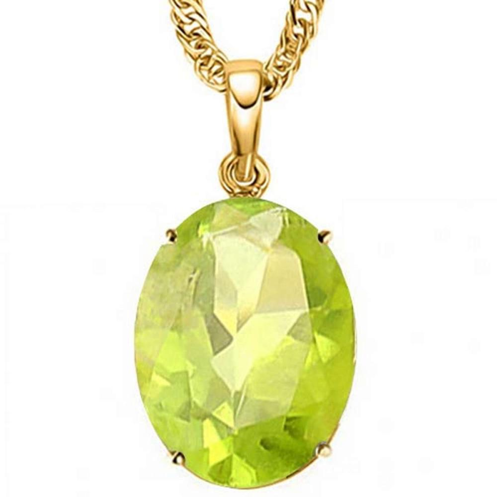 0.75 CTW PERIDOT 10K SOLID YELLOW GOLD OVAL SHAPE PENDANT #IRS56749