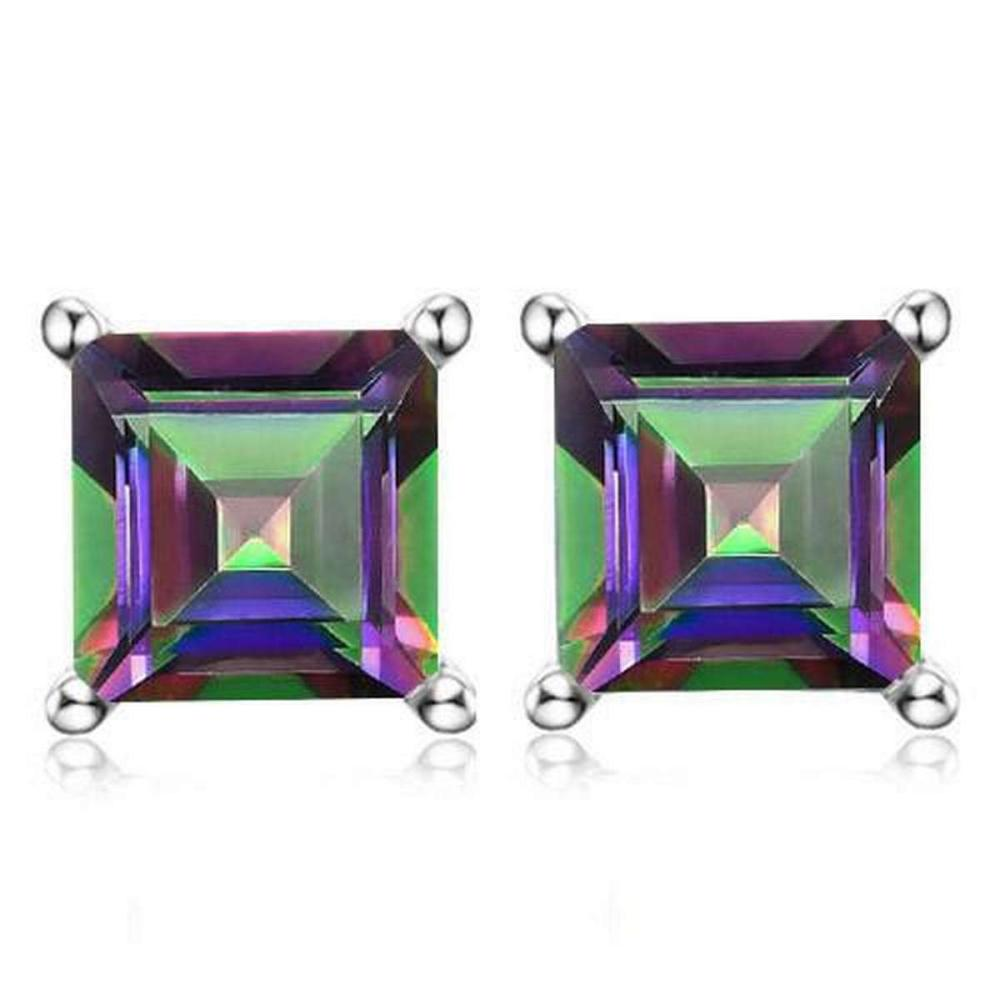 1.9 CTW MYSTICS GEMSTONE 10K SOLID WHITE GOLD SQUARE SHAPE EARRING #IRS37031
