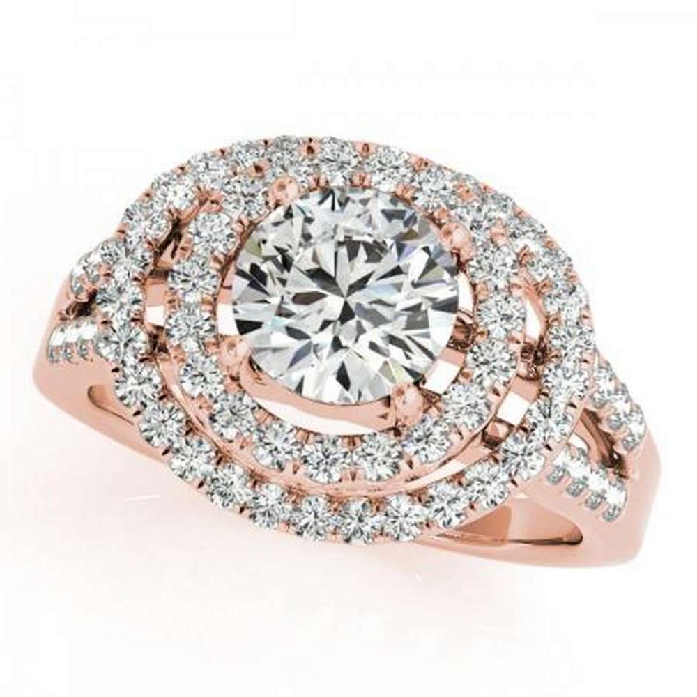 CERTIFIED 18K ROSE GOLD 1.55 CT G-H/VS-SI1 DIAMOND HALO ENGAGEMENT RING #IRS86284