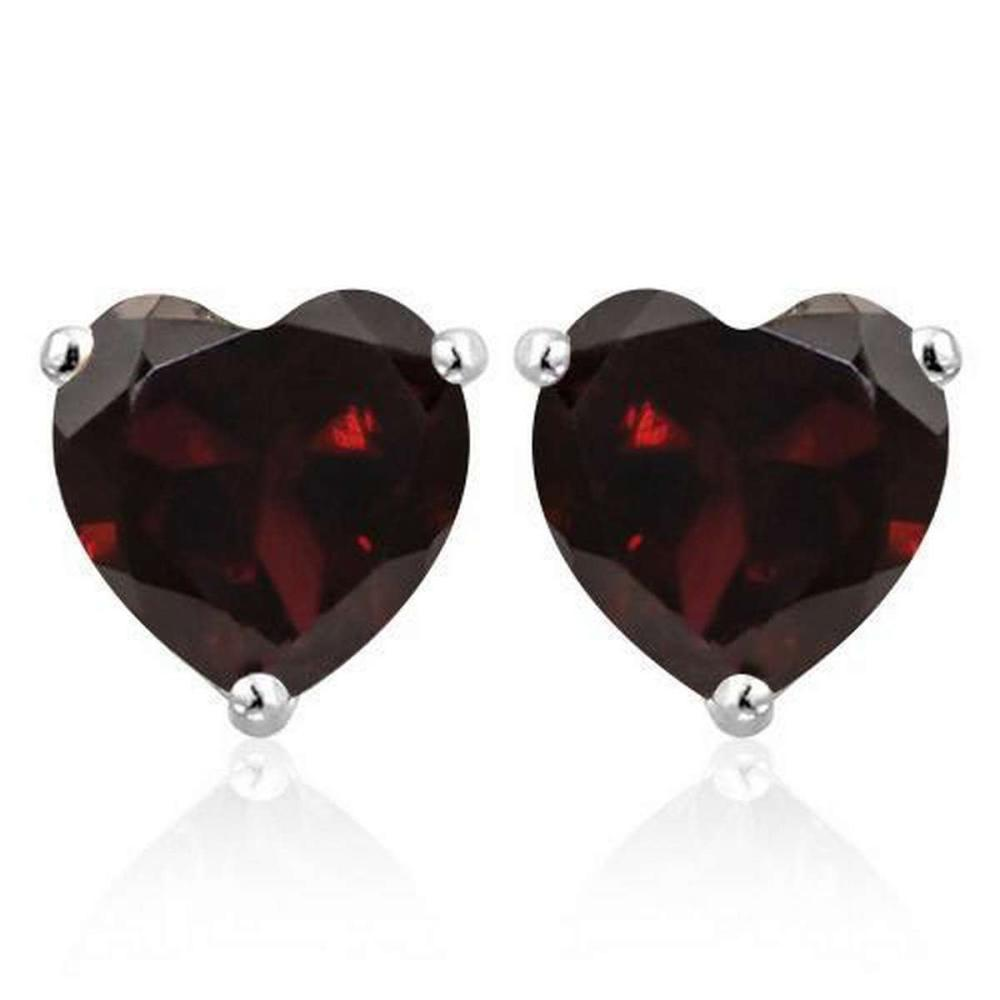 1.6 CTW GARNET 10K SOLID WHITE GOLD HEART SHAPE EARRING #IRS37021