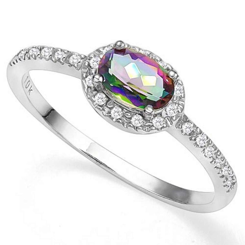 0.4 CTW MYSTIC GEMSTONE & GENUINE DIAMOND (24 PCS) 10KT SOLID WHITE GOLD RING #IRS80834