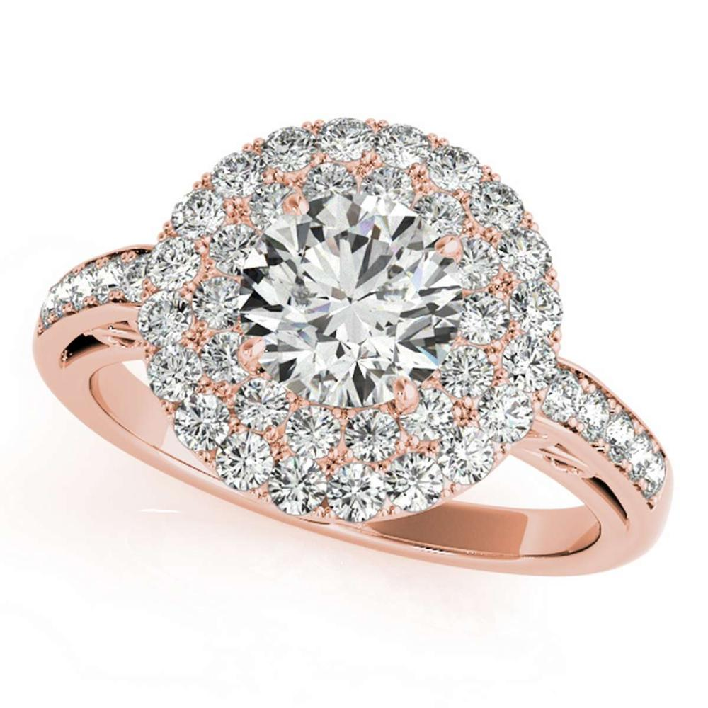 CERTIFIED 18K ROSE GOLD 1.53 CT G-H/VS-SI1 DIAMOND HALO ENGAGEMENT RING #IRS86310