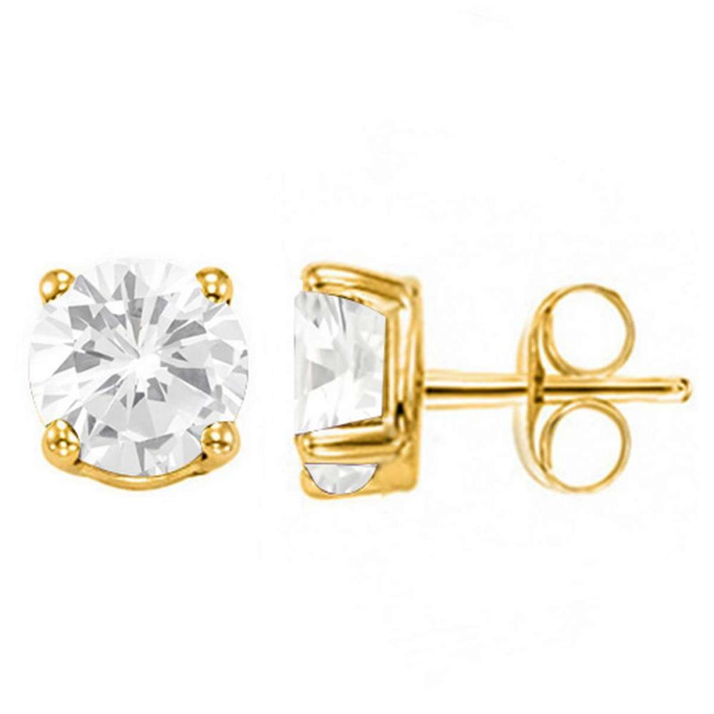 1.76 CT WHITE TOPAZ 10KT SOLID YELLOW GOLD EARRING #IRS93689