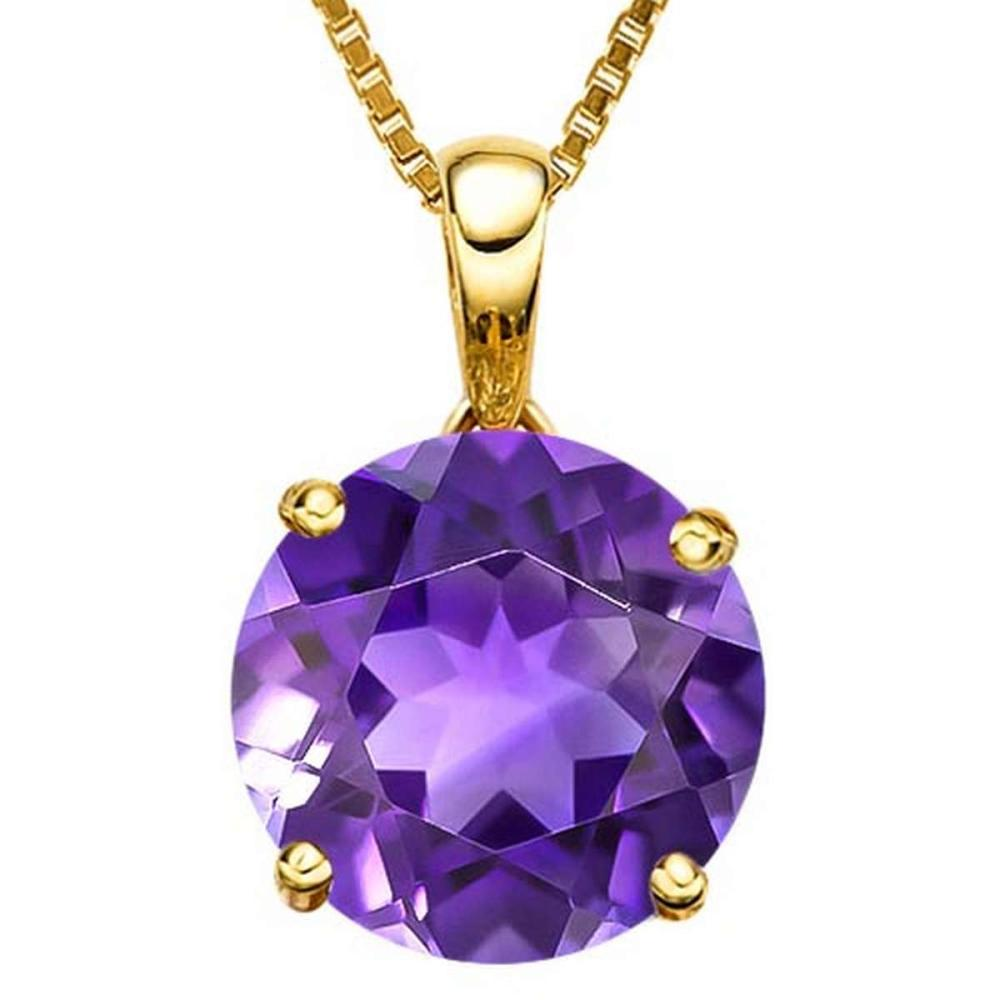 0.7 CTW AMETHYST 10K SOLID YELLOW GOLD ROUND SHAPE PENDANT #IRS56777