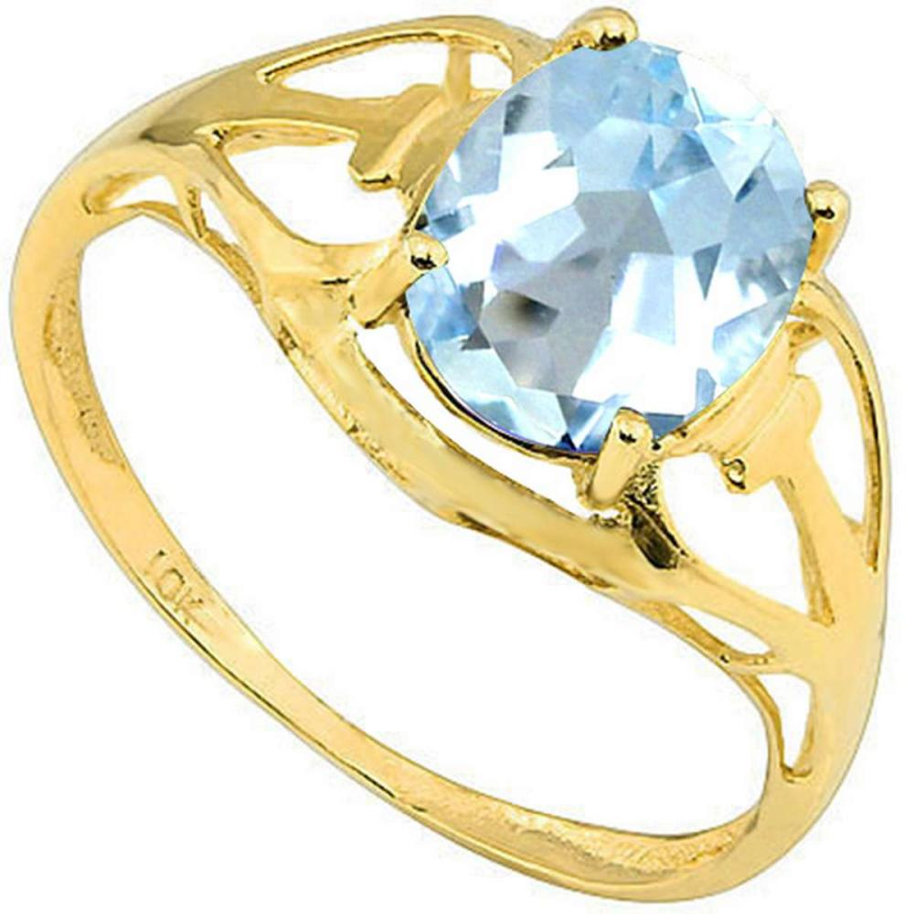 2.07 CT SKY BLUE TOPAZ 10KT SOLID YELLOW GOLD RING #IRS93808