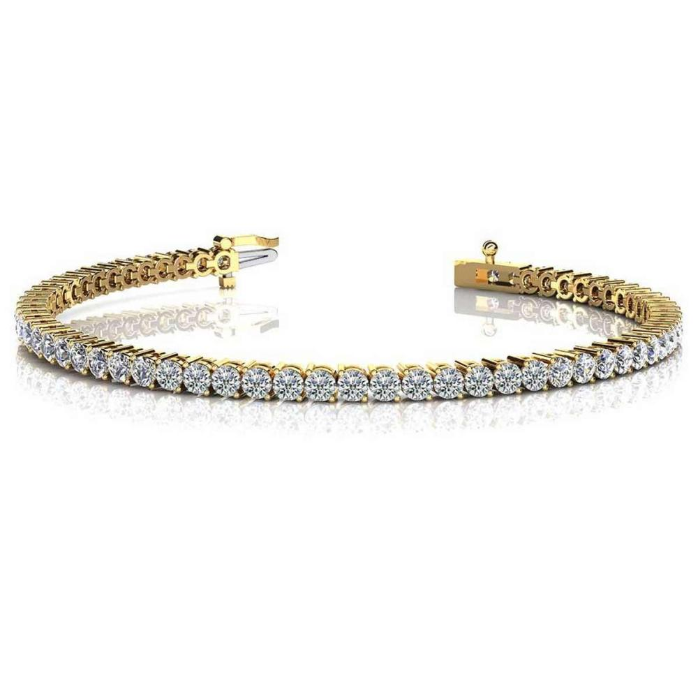 14K YELLOW GOLD 1.50 CTW G-H SI2/SI3 2 PRONG SET ROUND DIAMOND TENNIS BRACELET #IRS19985