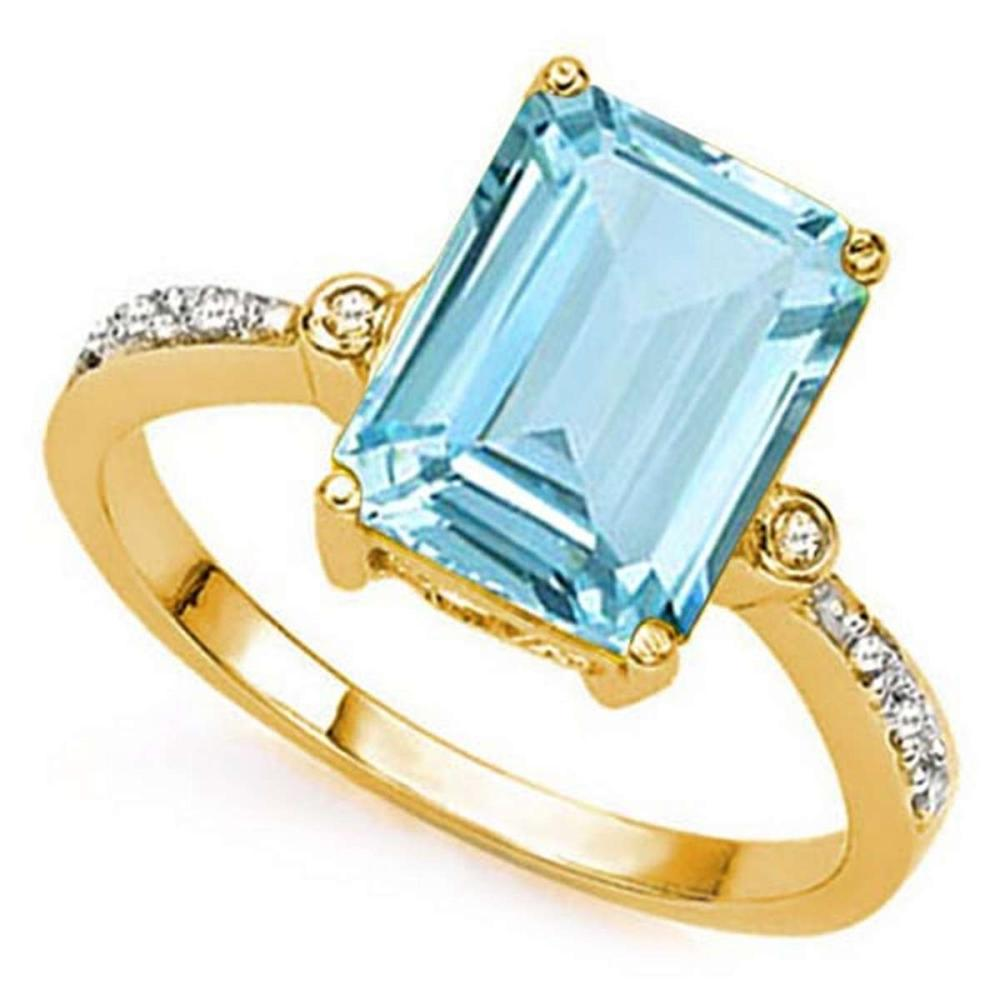 3.66 CTW BLUE TOPAZ & GENUINE DIAMOND (8 PCS) 10KT SOLID YELLOW GOLD RING #IRS80887