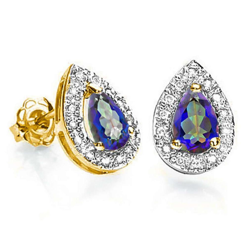 0.66 CT OCEAN BLUE MYSTIC QUARTZ AND ACCENT DIAMOND 10KT SOLID YELLOW GOLD EARRING #IRS93772