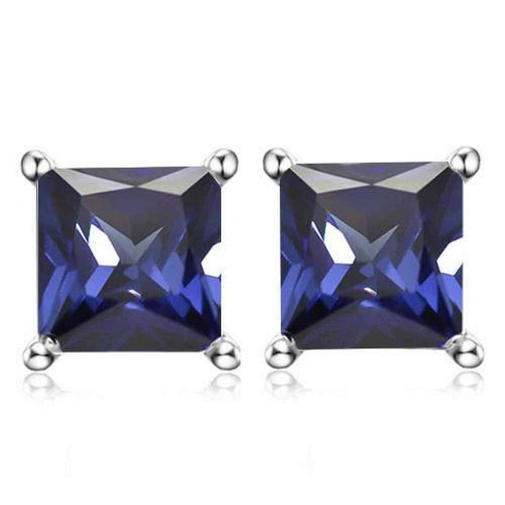 3.5 CTW LAB TANZANITE 10K SOLID WHITE GOLD SQUARE SHAPE EARRING #IRS37037