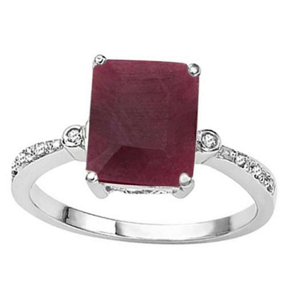 2.9 CTW RUBY & GENUINE DIAMOND (8 PCS) 10KT SOLID WHITE GOLD RING  #IRS56567