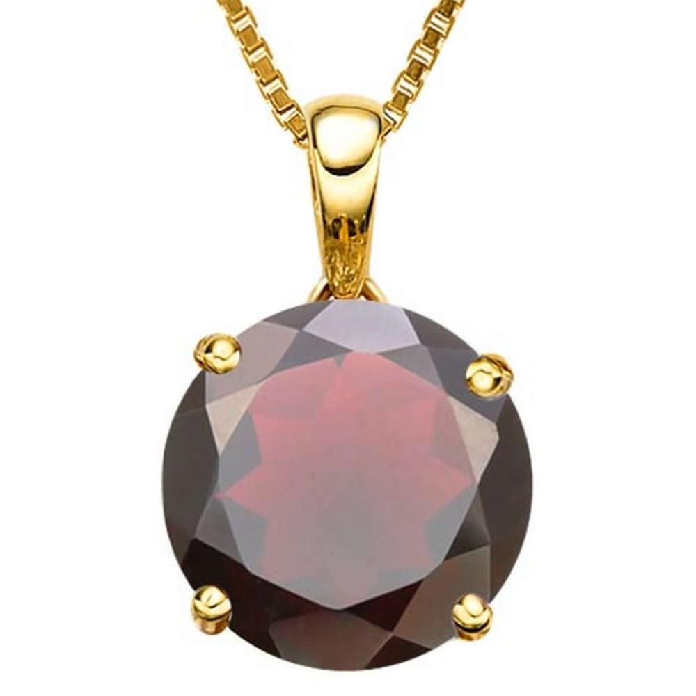 0.95 CTW GARNET 10K SOLID YELLOW GOLD ROUND SHAPE PENDANT #IRS56776
