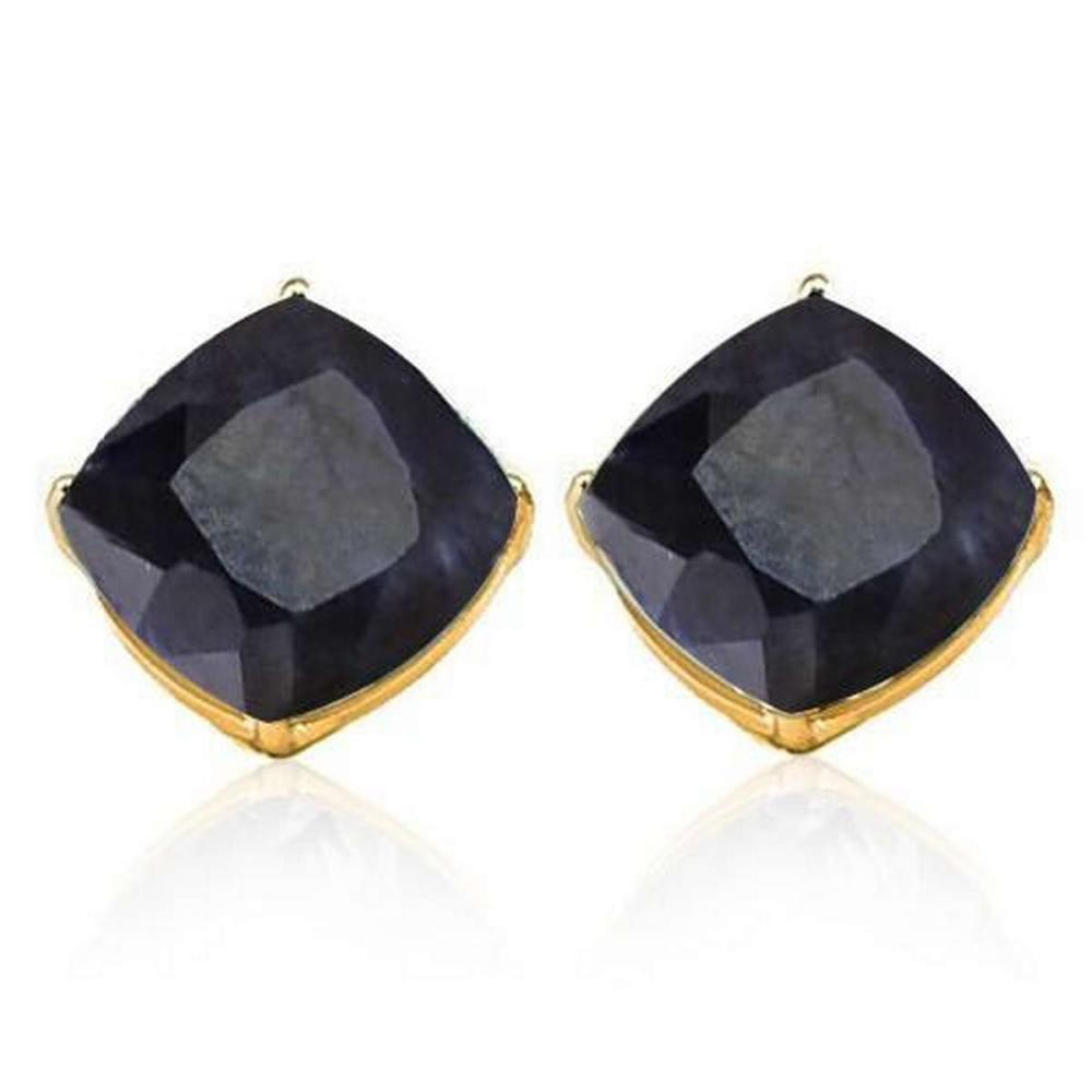 2.5 CTW BLACK SAPPHIRE 10K SOLID YELLOW GOLD CUSHION SHAPE EARRING #IRS37049
