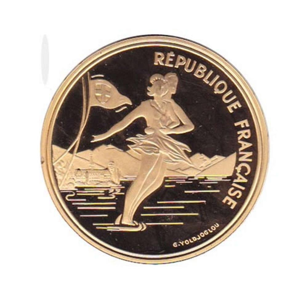 France 500 francs gold PF 1989 Olympics Skating #IRS96321