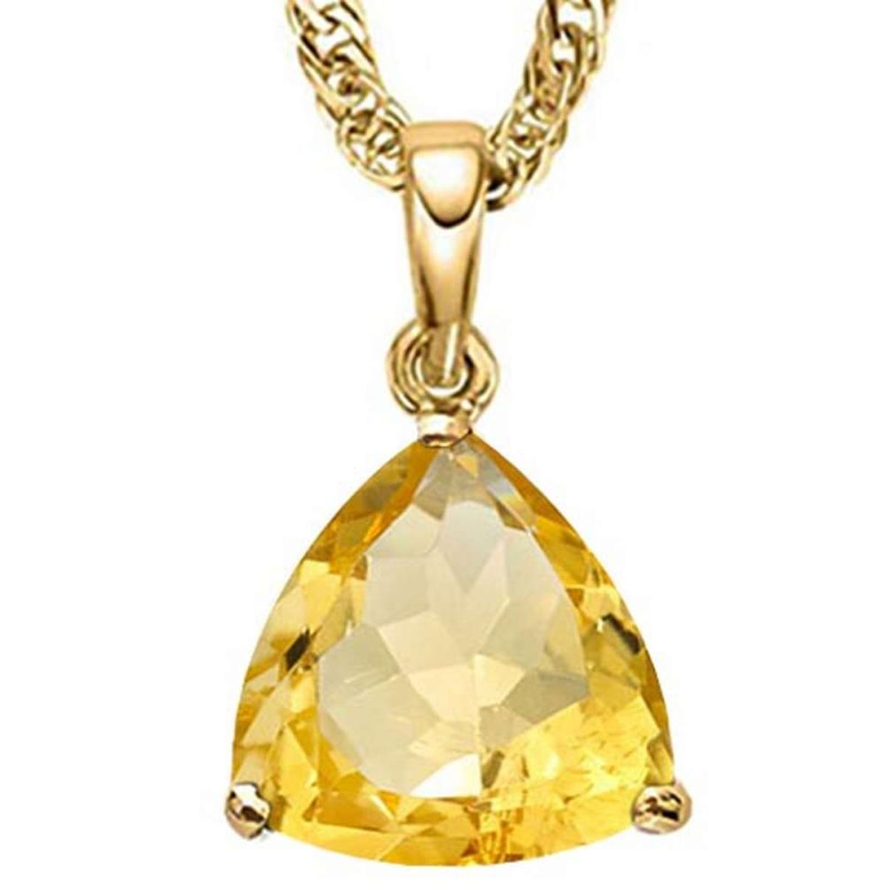 0.7 CTW CITRINE 10K SOLID YELLOW GOLD TRILLION SHAPE PENDANT #IRS56814