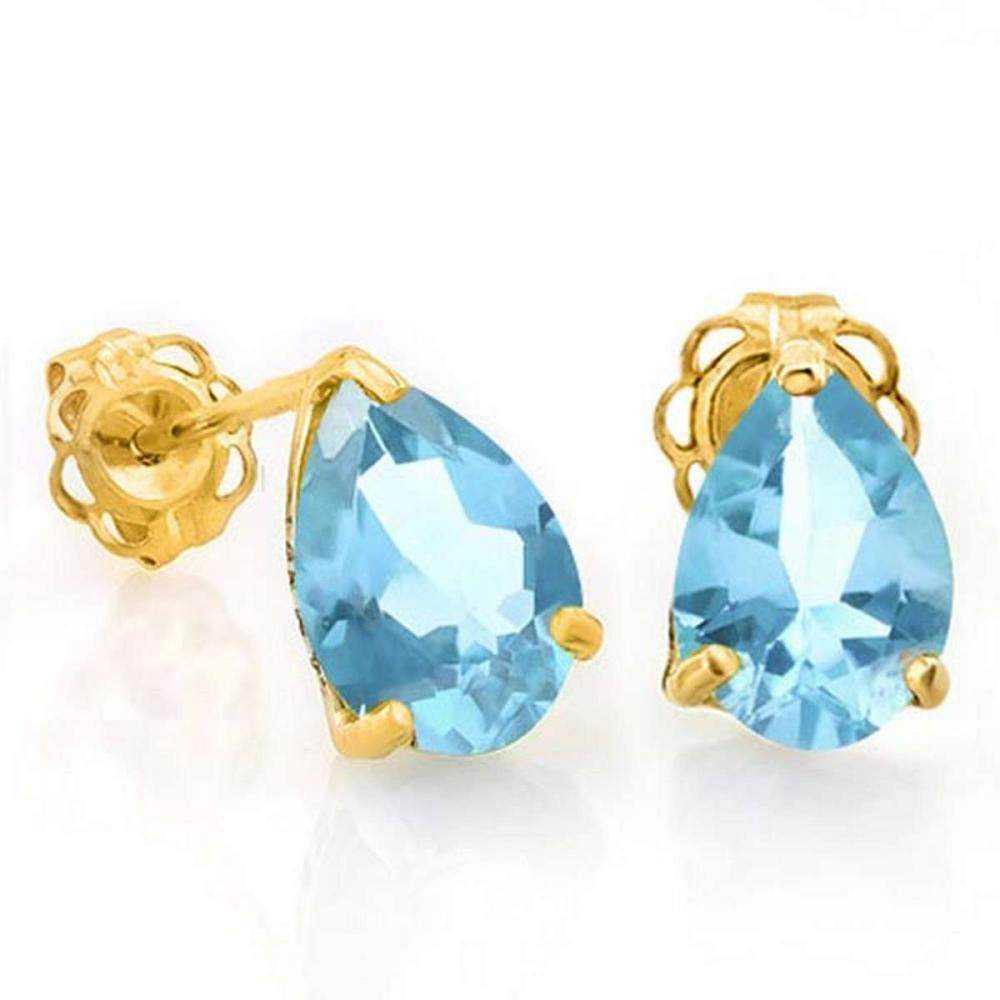 1.65 CTW SKY BLUE TOPAZ 10K SOLID YELLOW GOLD PEAR SHAPE EARRING #IRS56726