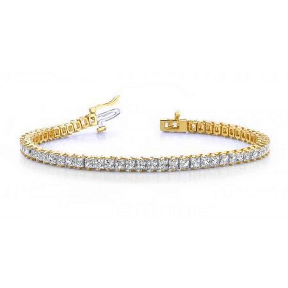 14K YELLOW GOLD 5 CTW G-H VS2/SI1 CLASSIC PRINCESS PRONG SET DIAMOND TENNIS BRACELET #IRS19906