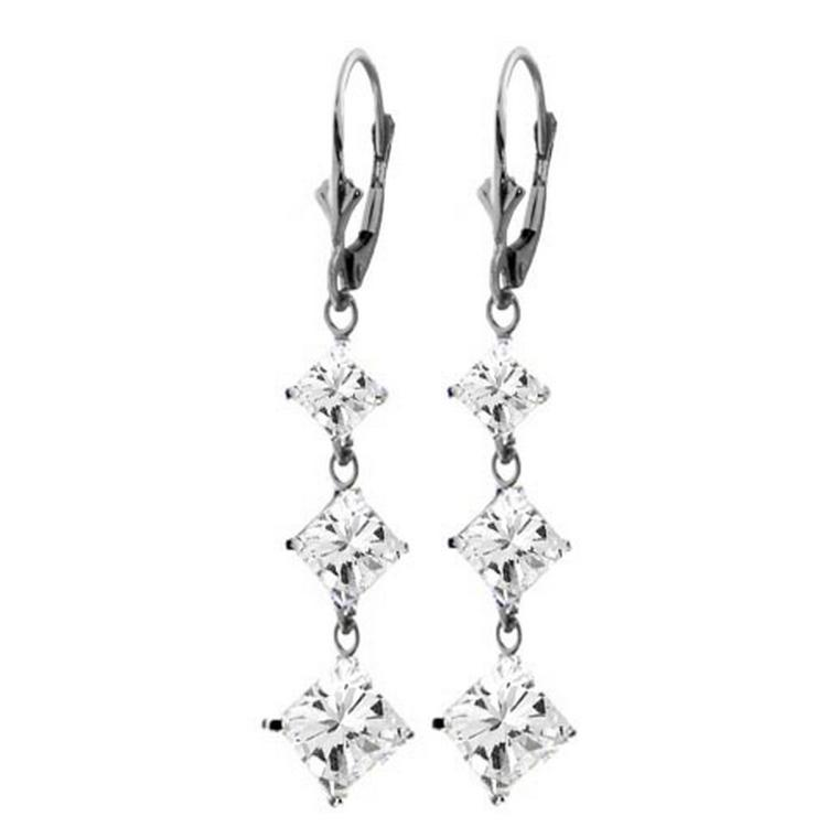 Jewelry & Watches Cubic Zirconia Lever Back Dangle Earrings 14K Solid White Gold