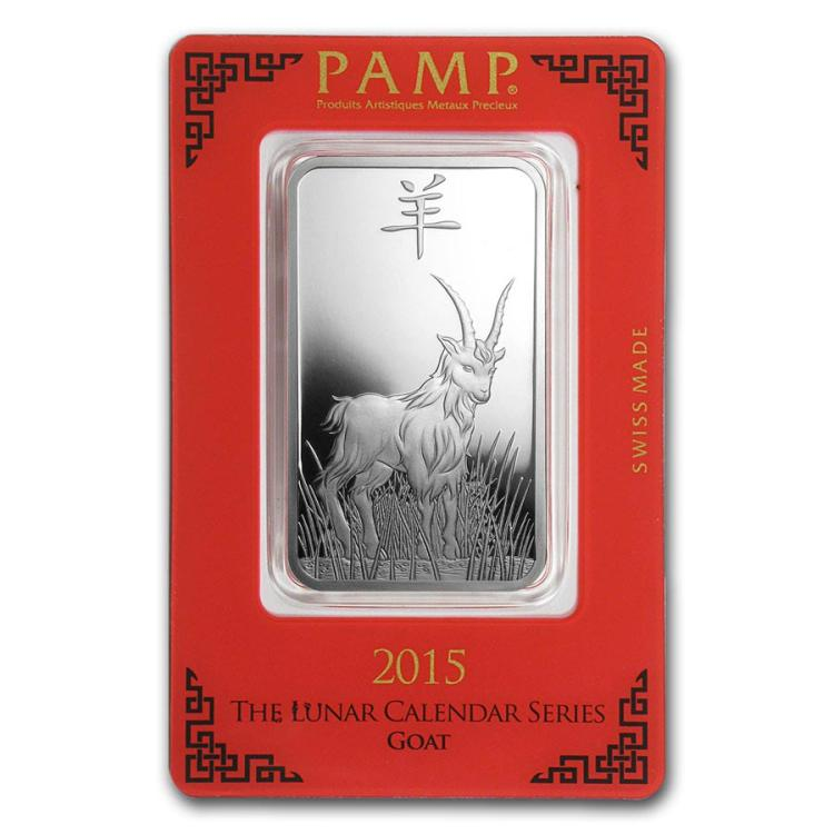 1 Oz Silver Bar Pamp Suisse Year Of The Goat Irs23746