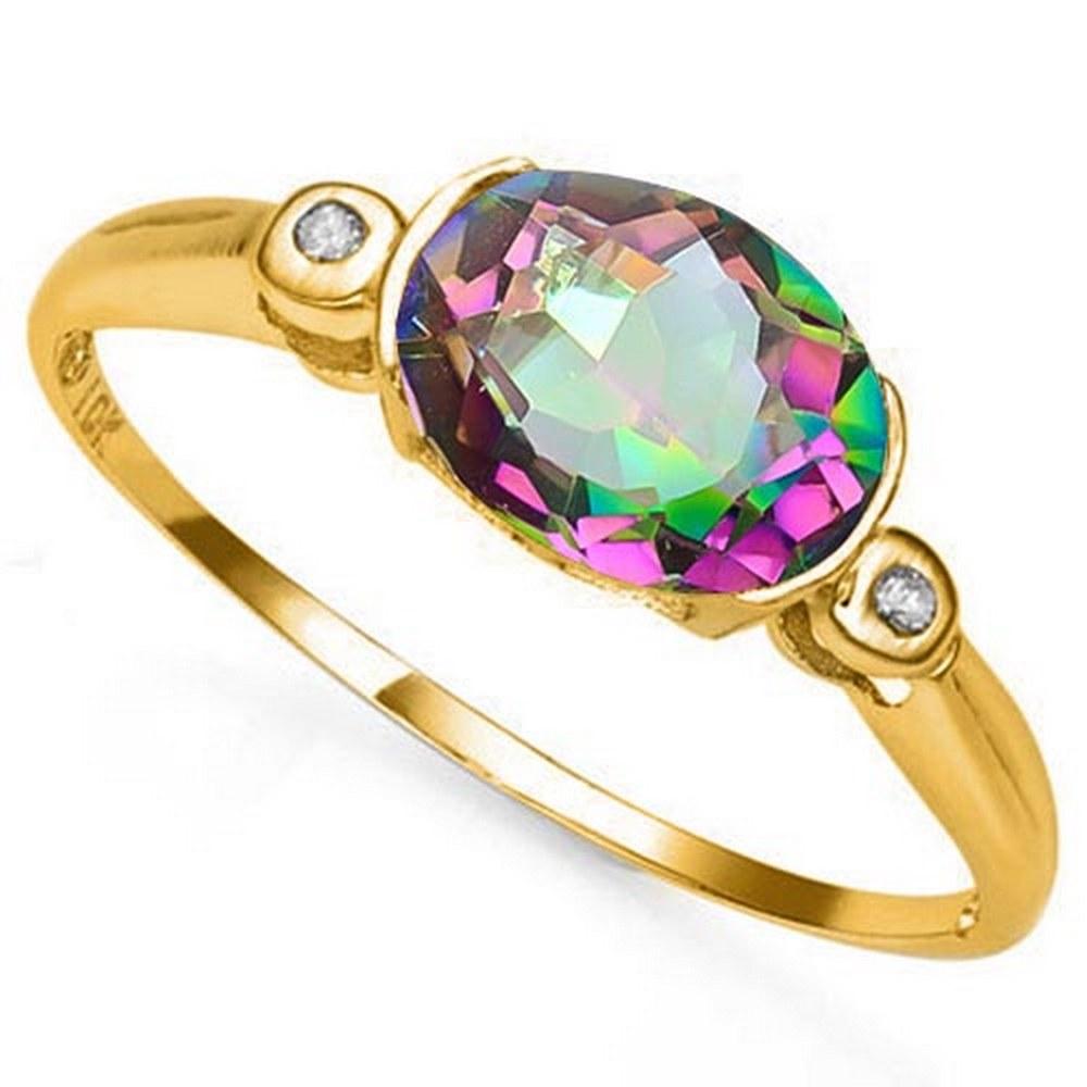 1.18 CTW MYSTIC GEMSTONE & GENUINE DIAMOND 10K SOLID YELLOW GOLD RING #IRS57166