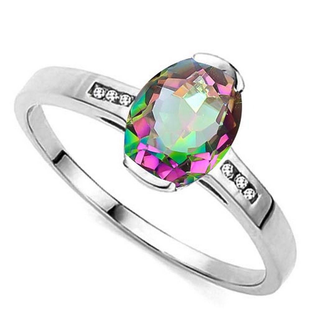 1.15 CTW MYSTIC GEMSTONE & GENUINE DIAMOND 10K SOLID WHITE GOLD RING #IRS57171