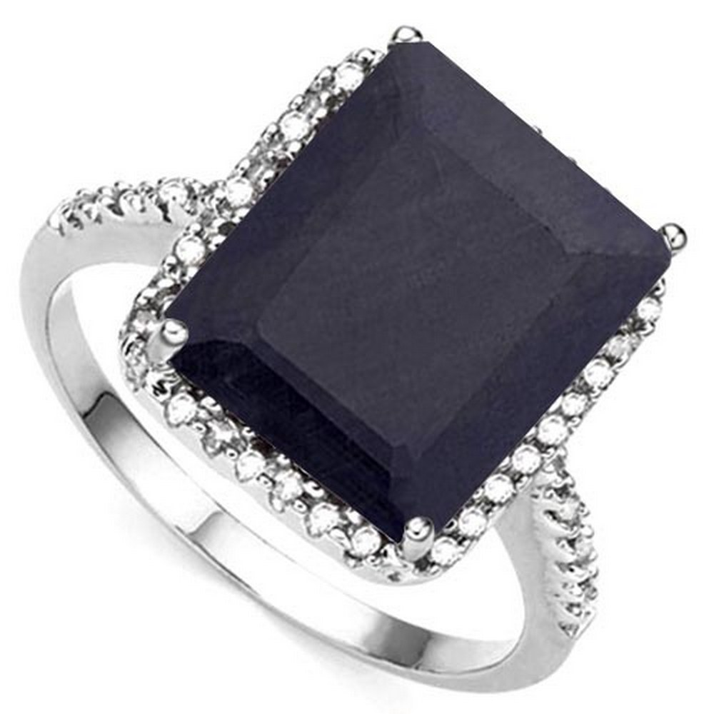 7.03 CTW BLACK SAPPHIRE & (22 PCS) DIAMOND 10KT SOLID WHITE GOLD RING #IRS80846