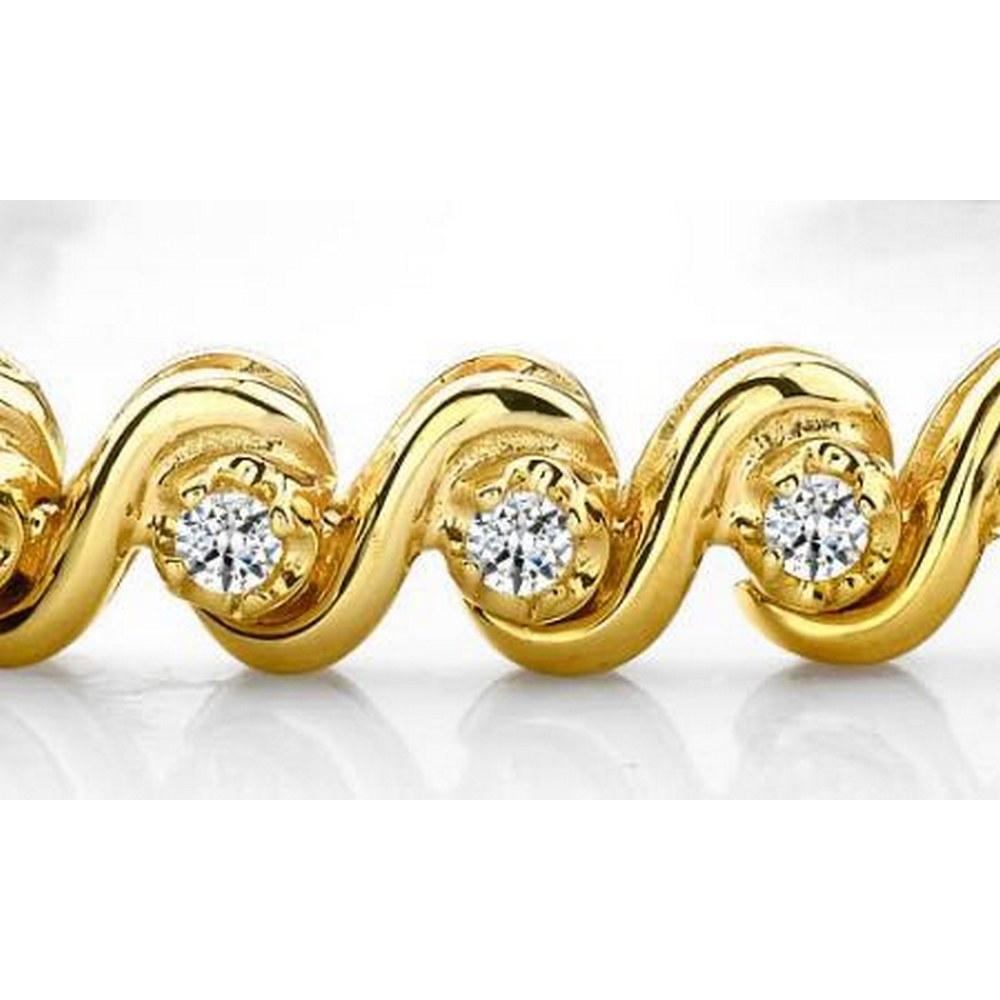 14K YELLOW GOLD .65 CTW G-H SI2/SI3 DIAMOND TENNIS BRACELET #IRS20035