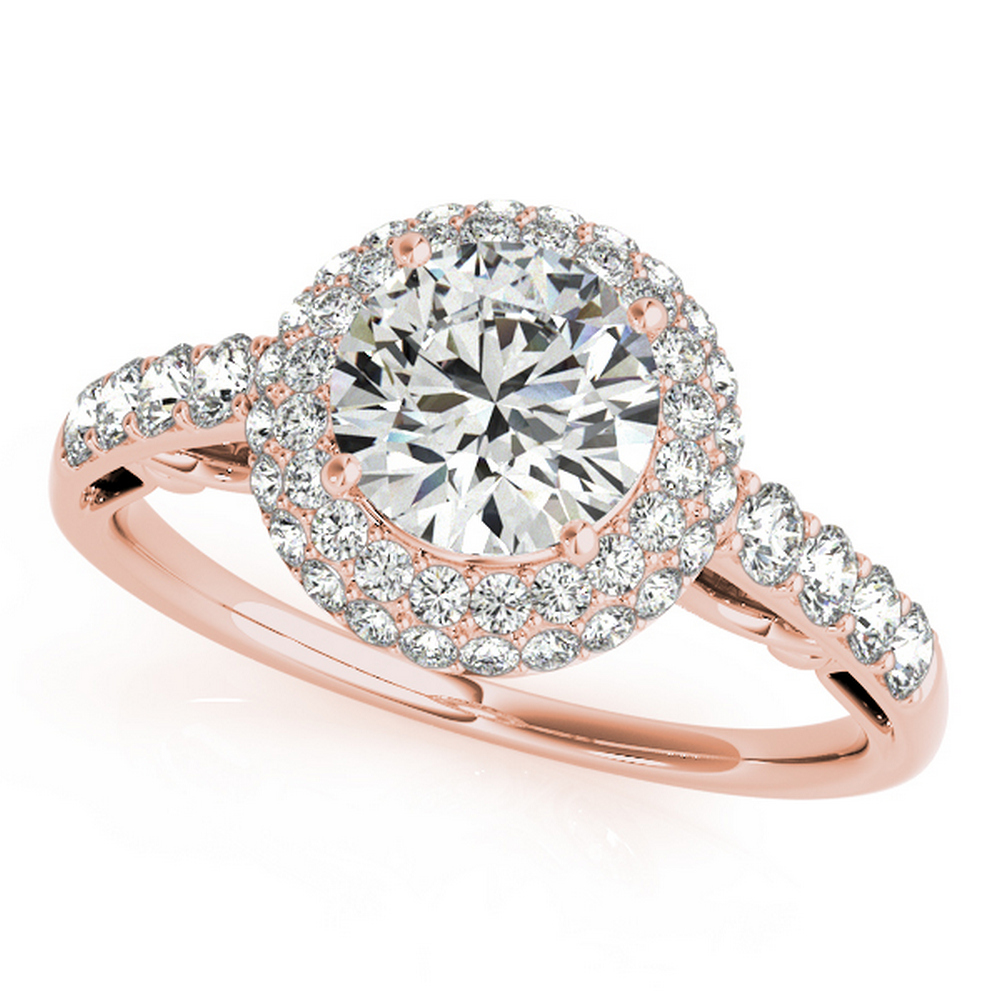 CERTIFIED 18K ROSE GOLD 1.17 CT G-H/VS-SI1 DIAMOND HALO ENGAGEMENT RING #IRS86261
