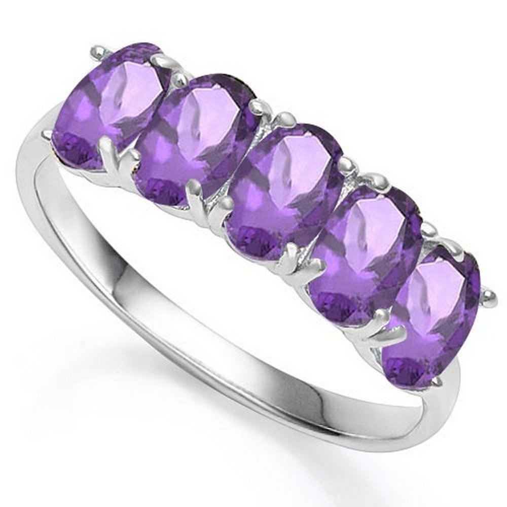 2.1 CTW GENUINE AMETHYST 10KT SOLID WHITE GOLD RING #IRS57229