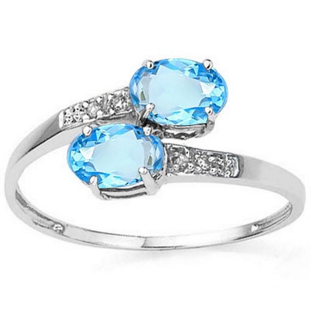 1.2 CTW SKY BLUE TOPAZ & GENUINE DIAMOND (6 PCS) 10KT SOLID WHITE GOLD RING #IRS57248