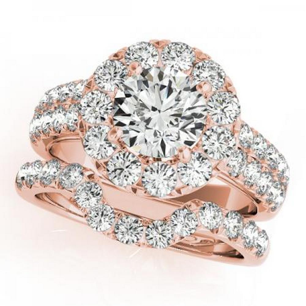 CERTIFIED 14KT ROSE GOLD 1.11 CTW G-H/VS-SI1 DIAMOND HALO BRIDAL SET #IRS86154
