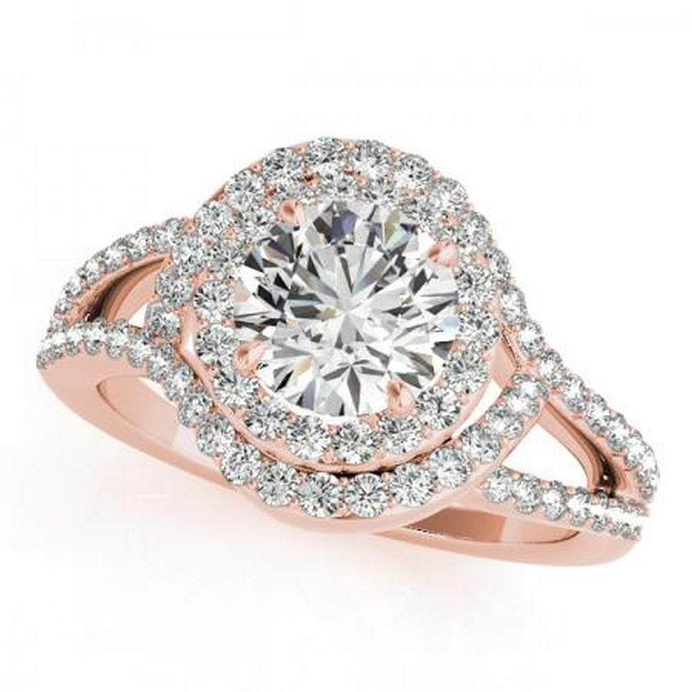 CERTIFIED 14KT ROSE GOLD 1.68 CTW G-H/VS-SI1 DIAMOND HALO ENGAGEMENT RING #IRS86251