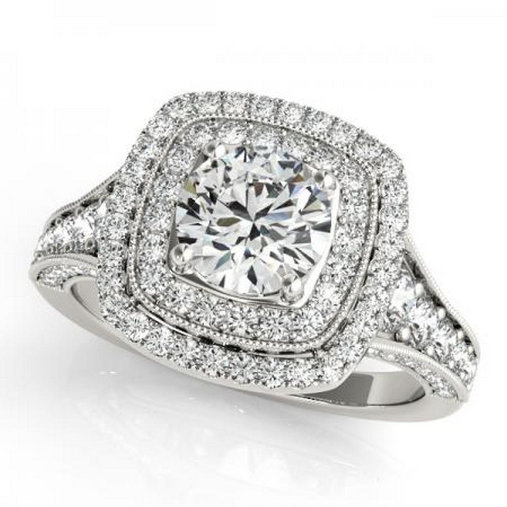CERTIFIED PLATINUM 1.53 CTW G-H/VS-SI1 DIAMOND HALO ENGAGEMENT RING #IRS86196