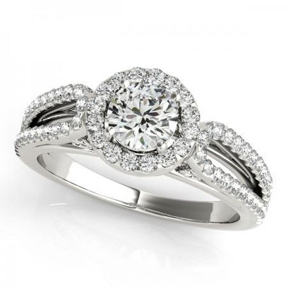 CERTIFIED PLATINUM .85 CTW G-H/VS-SI1 DIAMOND HALO ENGAGEMENT RING #IRS86227
