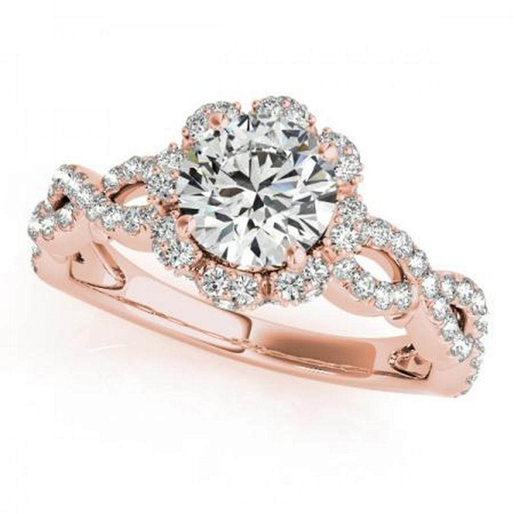 CERTIFIED 18K ROSE GOLD 1.00 CT G-H/VS-SI1 DIAMOND HALO ENGAGEMENT RING #IRS86281