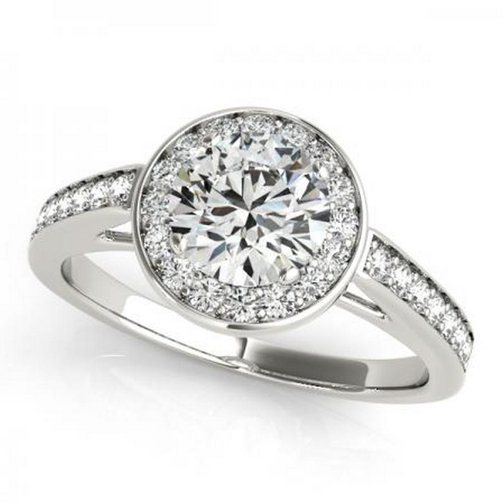CERTIFIED PLATINUM .87 CTW G-H/VS-SI1 DIAMOND HALO ENGAGEMENT RING #IRS86244