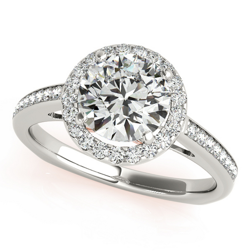 CERTIFIED TWO TONE GOLD 14K  1.16 CT G-H/VS-SI1 DIAMOND HALO ENGAGEMENT RING #IRS86302