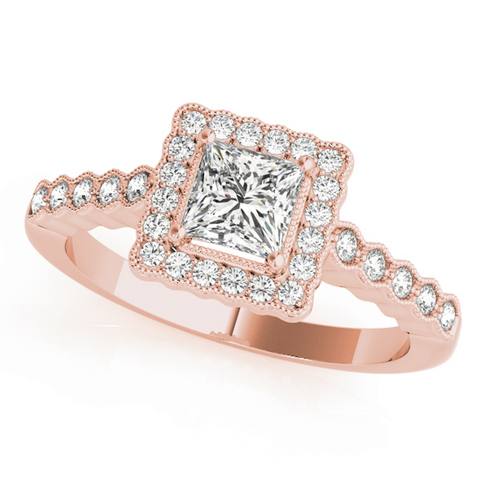 CERTIFIED 18K ROSE GOLD 0.95 CT G-H/VS-SI1 DIAMOND HALO ENGAGEMENT RING #IRS86276